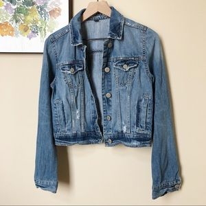 American Eagle Distressed Cropped Jean Jacket Sz M